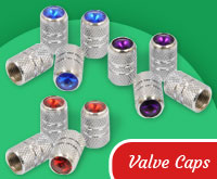 Valve Caps w/ Colored Tip, Chrome Finish 4-Pack